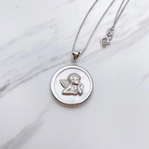S925 white mother of pearl angel necklace
